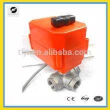 DC12V 3Way CR02 Controle de 3 fios DN20 aço inoxidável 304 NPT T-low Válvula de motor elétrico com indicador de posição