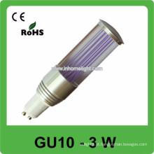 CE & ROHS 3w AC 85v-265v RGB mini lâmpada led gu10 bulbo, 3 anos de garantia