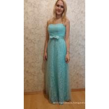 Blue Long Bridesmaid Dresses Floor Length Strapless Lace Appliques Brides Maid Dresses Elegant Wedding Party Gowns Dresses