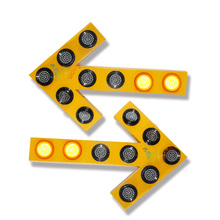 road construction aluminum yellow flashing arrow sign