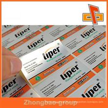 Etiqueta de embalaje adhesiva personalizada etiqueta adhesiva autoadhesiva, etiqueta adhesiva autoadhesiva para botellas de plástico