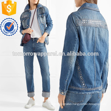 Le Studded Denim Jacket Manufacture Wholesale Fashion Women Apparel (TA3032C)
