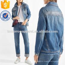 Le Studded Denim Jacket Fabricação Atacado Moda Feminina Vestuário (TA3032C)