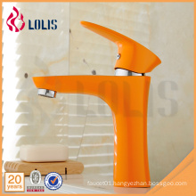 Bathroom design single lever orange painting hand wash basin faucet
