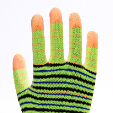 Striped Multicolor Polyester PU Work Protective Gloves