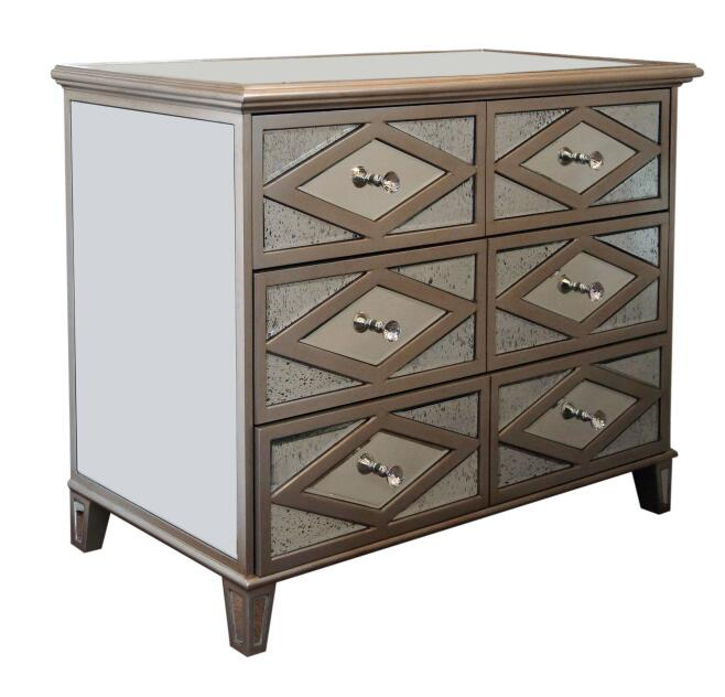 Antique Gold Mirrored 6 Drawer Chest Mf 1809