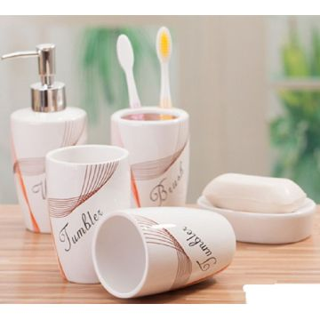 5 PC Of Ceramic Bath Set Printed