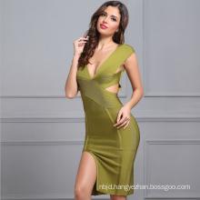 V Neck Dress Sexy Dress Spilt Dress Green Bandage Dress