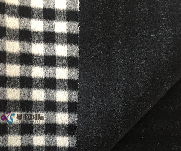 High Quality Plaid 100% Wool Fabric Both Sides