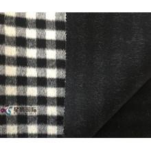 Small Black White Plaid 100% Wool Fabric
