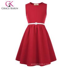 Grace Karin crianças miúdas sem mangas pescoço redondo A-Line vestido vermelho meninas CL010482-3