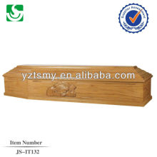 Customized beautiful carved cheap wood coffin wholesale