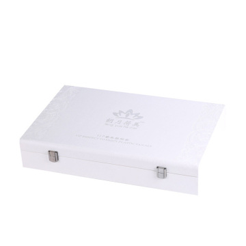 White PU Cover Wooden Rigid Gift Box