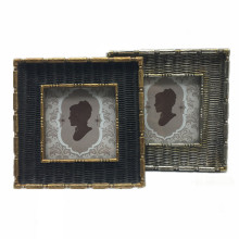 European style imitation rattan wooden picture photo frame home decoration wood modern macrame picture frame