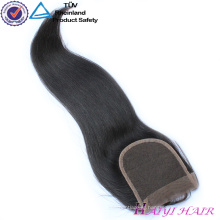 Peruvian Natural Black Remy Human Hair Medium Brown Swiss Lace Straight Lace Closure