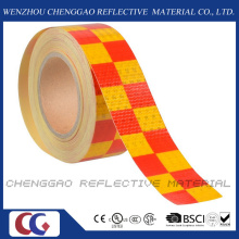PVC jaune et rouge striées sécurité AVERTISSEMENT ruban réfléchissant (C3500-G)