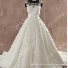 LS0110 Cremalheira traseira transparente e botão revestido vestido de noiva vestido de noiva vestido de noiva coreano de cristal vestido de noiva de renda com tampão de renda