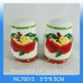 Kitchen creative apple ceramic seasonings spice jars wholesale