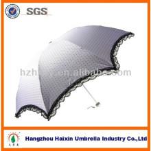 Moda Senhora Lace Fringe Anit-sol Parasol Guarda-chuva 3 Folding
