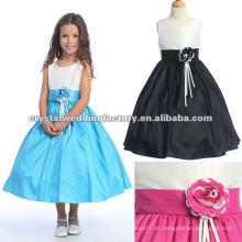 Real appliqued tafetán ajustar sash T-longitud de los vestidos de chica de flor CWFaf4205