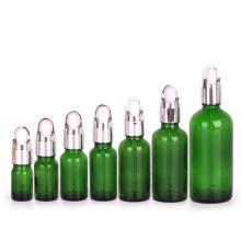 5ml 10ml 15ml 20ml 30ml 50ml 100ml green cosmetic essential oil serum glass dropper bottle with eye dropper