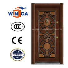 Turco Villa Winga Exterior MDF Puerta blindada de madera de acero (W-T08)