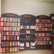 Madera Slatwall Accesorios para teléfonos móviles Colgantes Interior Comercial Celular Tienda Mostrar