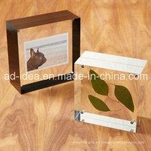 Estante de exhibición de acrílico del marco multicolor de la foto / soporte de acrílico claro de la exposición