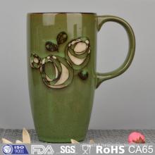 Silk Printing Stoneware Mug with Hand Painting