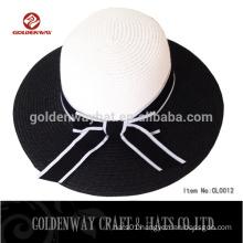 ladies black wide brim beach straw hat to decorate