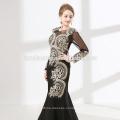 Завод тяжелого поставок из бисера черный цвет женщины вечернее платье с длинным рукавом