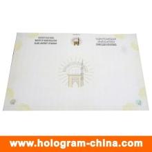 Certificado de marca de agua de fibra invisible de seguridad anti-falsificación