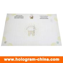 Etiqueta de certificado de seguridad antifalsificación con fibra invisible