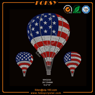 Air balloon 4th July t shirt rhinestone transfers