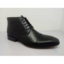Sapatos de couro do laço do plutônio dos homens pretos NX 530