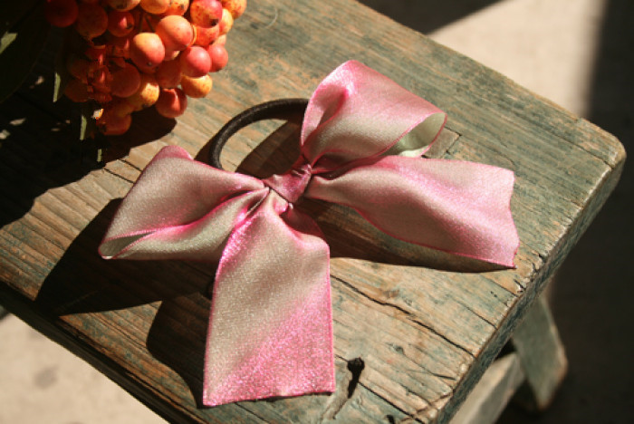 pink organza ribbon bow