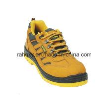 Camada superior nobuk e amarelo forro sapatas de segurança (HQ08003)