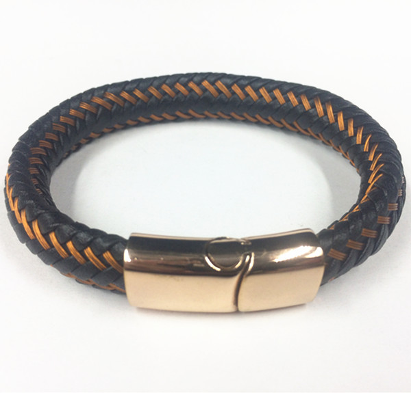 Wire Leather Rope Rose Gold Magnetic Clasp Bracelet