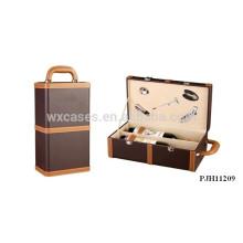 hochwertige tragbare Leder Wein-Box für 2 Flaschen aus China-Hersteller