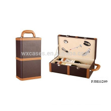 high quality portable leather wine box for 2 bottles from China manufacturer