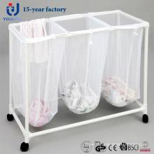 Três caixa PVC caixão de roupa suja