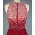 Red Beading Long Bridesmaid Prom Dress