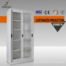 DIY fácil de montar 2 porta de metal armário de exposição da porta de vidro deslizante