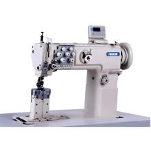 Máquina de coser de asientos de coche de alimentación compuesta de aguja doble de postes