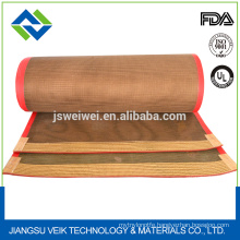 good quality 4*4mm mesh size kevlar or Ptfe teflon coated fiberglass mesh conveyor belt manufactured in China