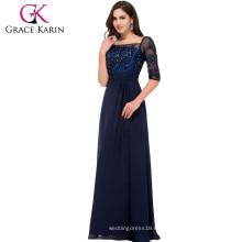 Grace Karin largos piso de longitud media manga cuello cuadrado de gasa azul marino Madre de la novia vestido CL008919