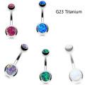 Trendy Feueropal Nabel Bauch Ringe Titan Piercing G23 In Titan Bars