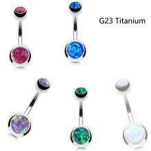 Ventre de nombril opale de feu à la mode titanique Piercing G23 dans des barres de titane