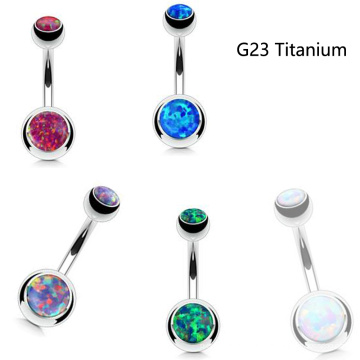 Модный Огненный Опал Пупка Живота Кольца Пирсинг Давления G23 Титана В Титановых Прутков