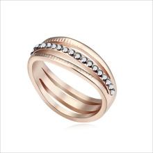 VAGULA oro Rhinestone Mix Color Zinc aleación anillo de bodas